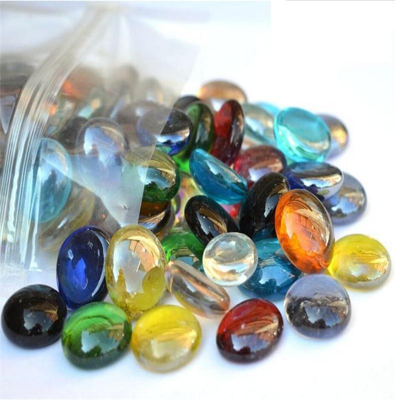 200Pcs/Bag Beautiful Landscaping Stone Glass Goldfish Bowl Round Beads Multicolour Fish Tank Flowerpot Decoration