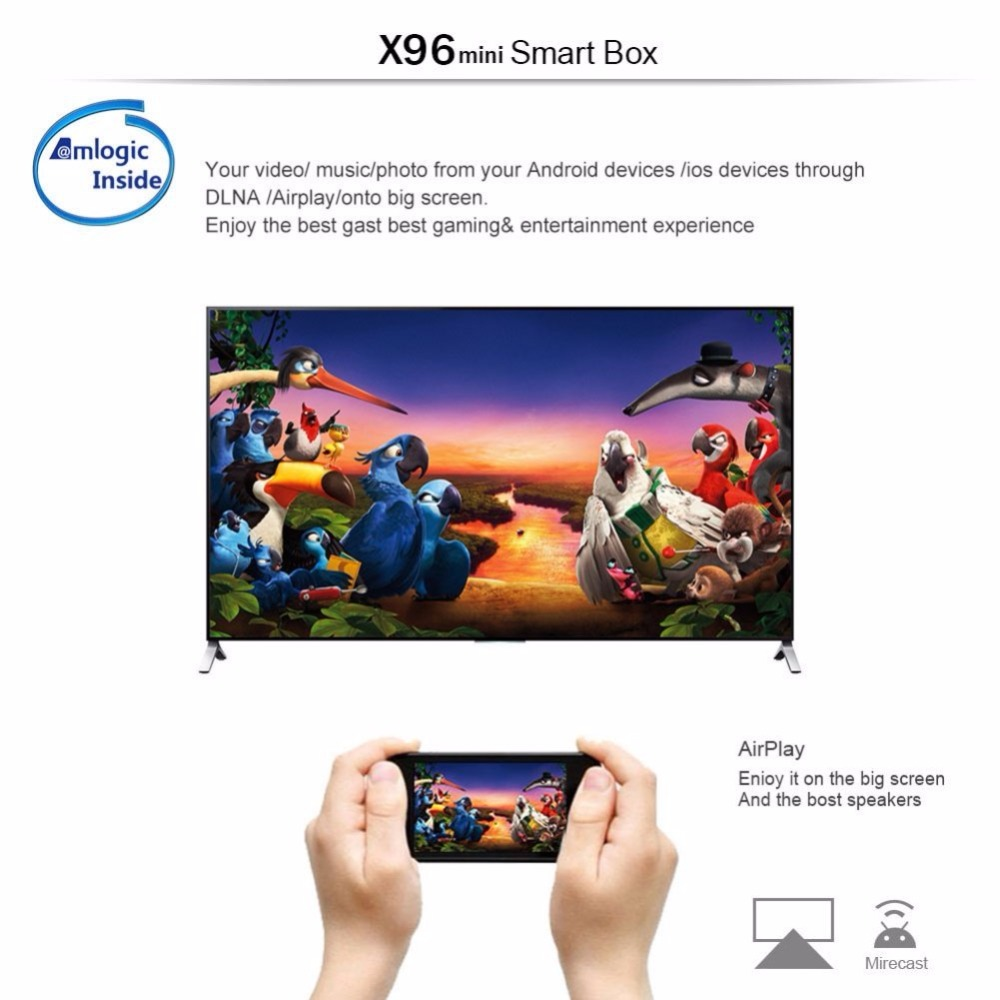 Image 5 - X96mini X96 mini Android 7.1 Smart TV BOX X 96 2GB/16GB 1GB/8GB Amlogic S905W Quad Core support 4K 30tps 2.4GHz WiFi Set top box-in Set-top Boxes from Consumer Electronics