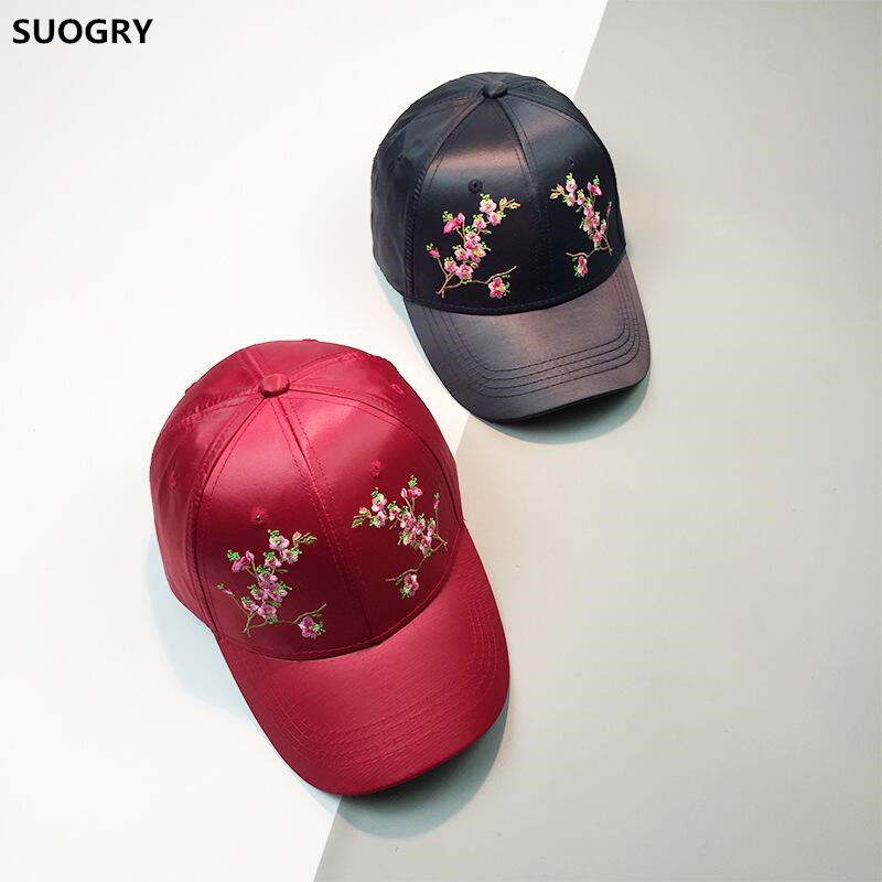SUOGRY Baseball Cap Women Embroidery Floral Flower Satin Snapback Dad Hat For Women Female Summer Sun Hat Club Party Cap Bone chemo skullies satin cap bandana wrap cancer hat cap chemo slip on bonnet 10 colors 10pcs lot free ship