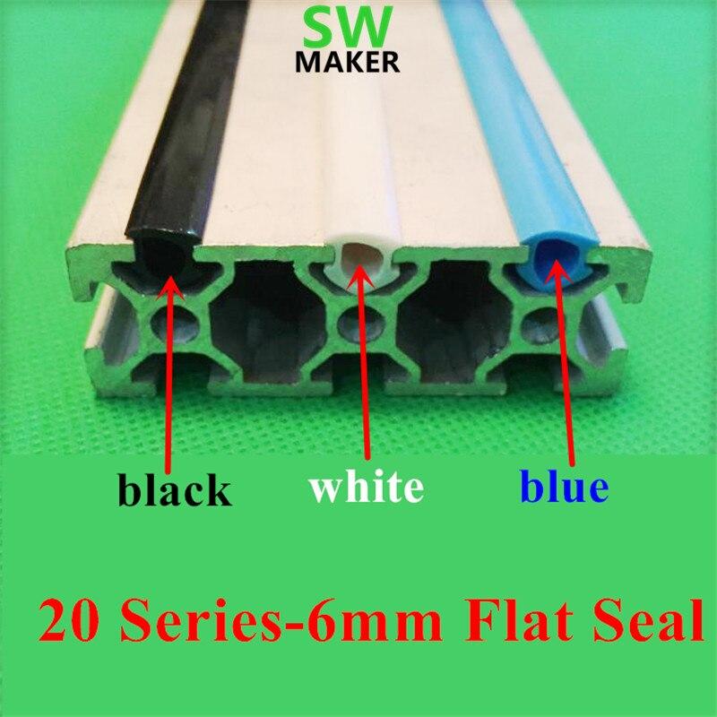 1 метр черный/белый/синий 20 серий 6 мм плоское уплотнение для 2020 алюминиевый профиль мягкий слот крышка/держатель CNC C-Beam машина 3D принтер