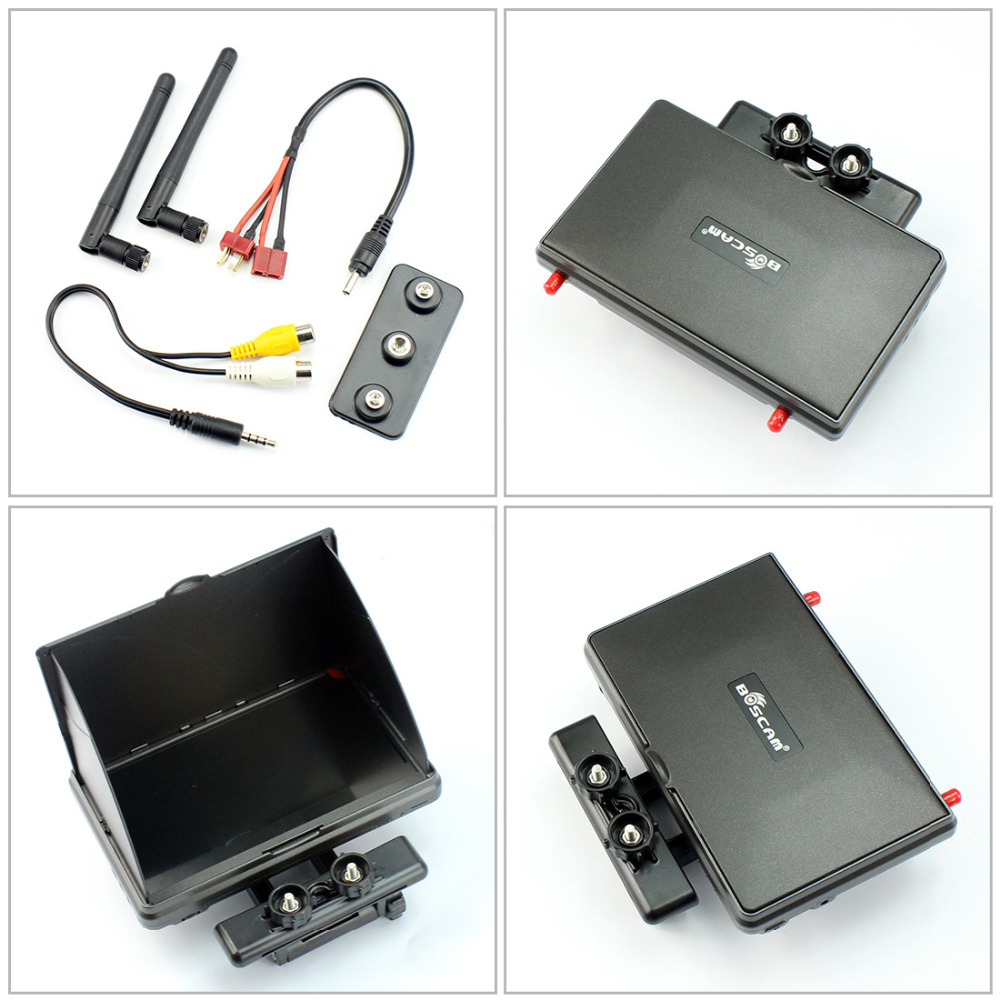 JMT Boscam Galaxy D2 7in FPV Monitor/ Display Built-in 5.8G 32CH Dual Receiver with Holder And 4000mAh Battery and Sun Hood boscam 5 8ghz cloud spirit antennas txa and rxa a pair in one set multicolored