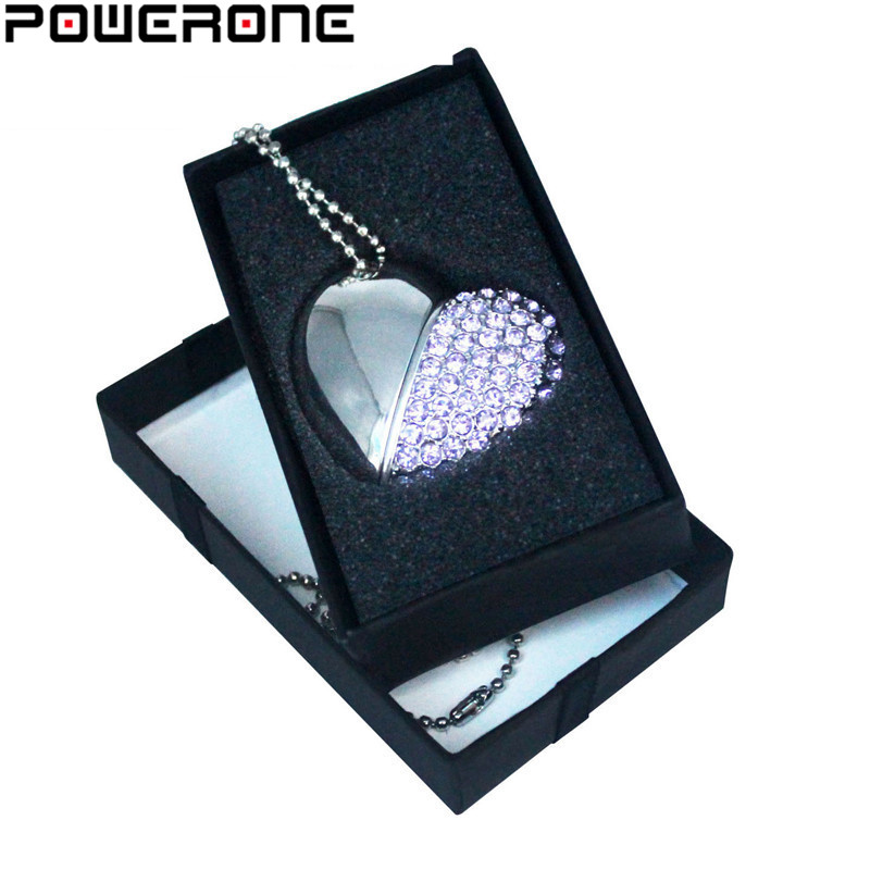 POWERONE Metal Diamond Crystal Heart With Gift Box USB Flash Drive  Pendrive 8GB 16gb 32GB 64GB Memory Stick Thumb Drive Gifts
