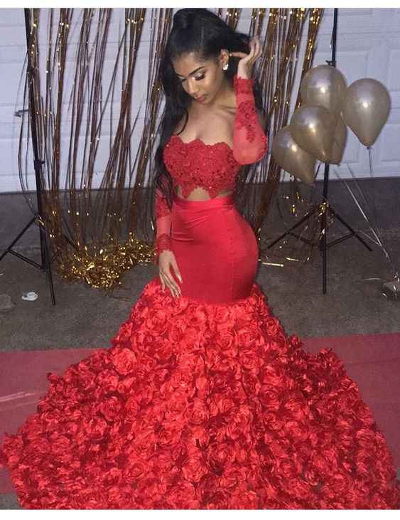 Two Piece Mermaid Prom Dress Long Sleeves 3D Flowers Floor Length African  Evening Dresses Plus Size High Quqlity Party Gowns|Prom Dresses| -  AliExpress