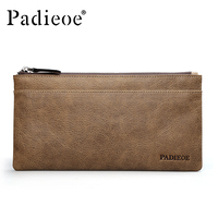 Padieoe Vintage Style Male Clutch Top Quality Genuine Leather Wallet Men Casual Cow Leather Men's wallet Brown