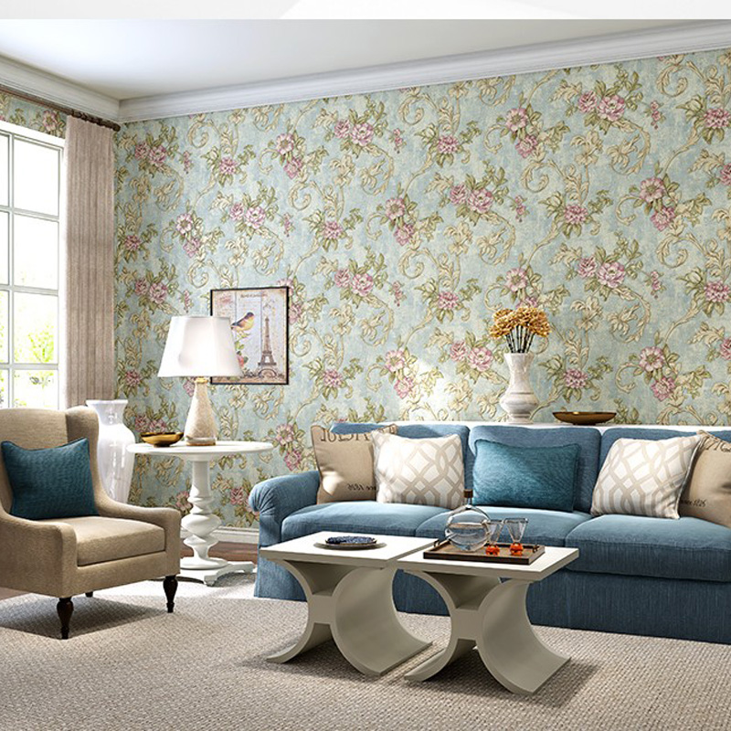 Q QIHANG American Style Pastoral Flower 3D Non-woven Living Room Bedroom Sofa Background Wallpaper 0.53m*10m=5.3m2 non woven bubble butterfly wallpaper design modern pastoral flock 3d circle wall paper for living room background walls 10m roll
