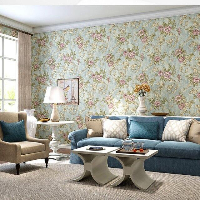 Q Qihang American Style Pastoral Blume 3d Vlies Wohnzimmer Schlafzimmer  Sofa Hintergrundbild 0,53 Mt