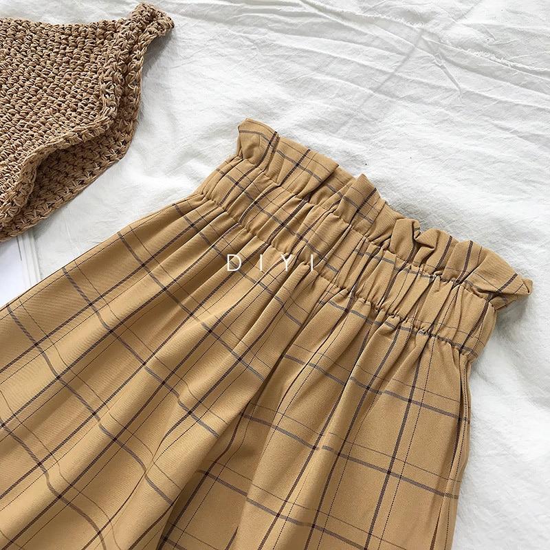 CamKemsey Japanese Harajuku Casual Pants Women 2019 Fashion Lace Up High Waist Ankle Length Loose Plaid Harem Pants 39