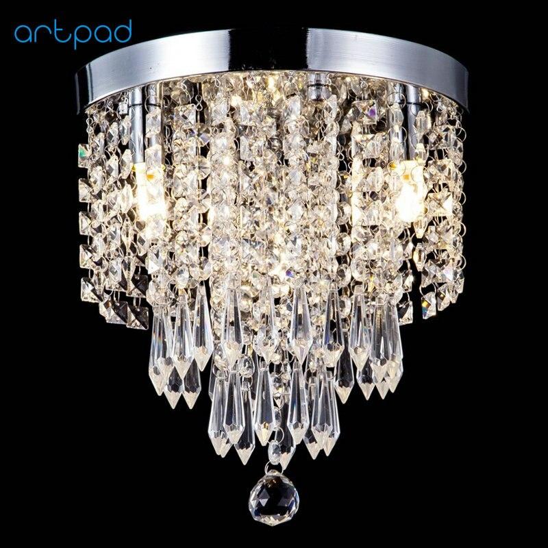 Artpad Modern Flush Mount AC110V-220V K9 Crystal Ceiling Lights Lamp For Hallway Closet Bathroom Bedroom Living Room