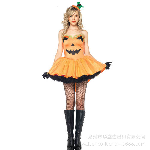 b3f6377741d US $40.52 |Lady New Halloween Pumpkin Yellow Strapless Tutu Costume Women  Cosplay Costume Make Up Party Dress Role Playing Suit B 4144-in Movie & TV  ...
