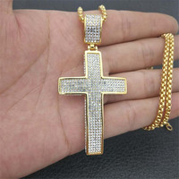 Religious Big Cross Pendant Necklace for Women/Men Gold Color Stainless Steel Crucifix Necklaces Male Christian Jewelry XL1134