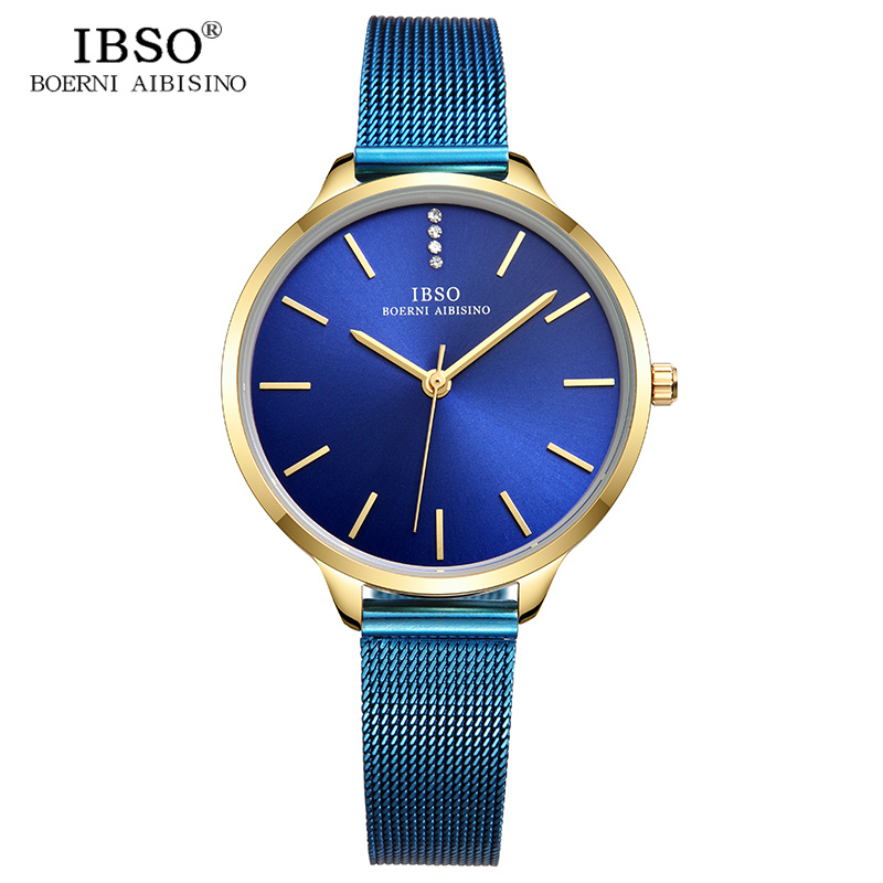 IBSO New Brand Ultra-Thin Quartz Watch Women Blue and Black Stainless Steel Mesh Strap Women Watches 2018 Fashion Montre Femme цена