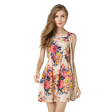 JTCY Women Summer Print Dress Casual Floral Sleeveless Dress Female Elastic Waist Mini-Length A-Line Beach Dress a line floral sleeveless dress