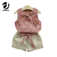 2017 New Girls Flower Printing Vest + Pure Color Pants Baby Girl Suit Kids Clothes Fashion Style Girl Clothing Set format kids girl 14 2017