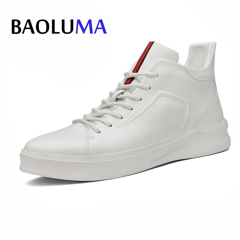 Baoluma Designer Real Leather Men Shoes Autumn Winter High-top Stamping Pattern Fashion Lace-up Man Shoe Black White Homme 2017 men shoes fashion genuine leather oxfords shoes men s flats lace up men dress shoes spring autumn hombre wedding sapatos