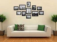 11 adet katı çam ahşap siyah karışık lot resim fotoğraf çerçevesi set diy duvar asılı kağıt fotoğraf çerçevesi duvar resim albümü