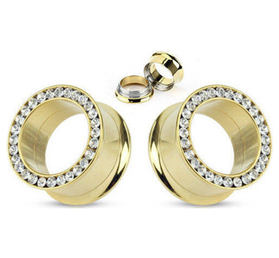 1 pair Gold Internally Threaded Gem Rim Double Flare Tunnels Plugs Earlets Gauges