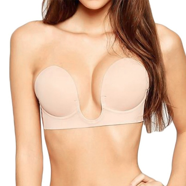 9a93c12f65438 Deep U Plunge Bra Invisible Push Up Bra For Wedding Evening Strapless  Sticky Self-Adhesive Silicone Brassiere For Dropshipping
