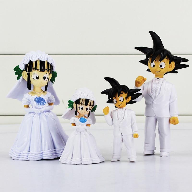 2pcs/set Two size Japan Anime Dragon Ball Z Son Goku ChiChi Wedding PVC Action Figure To ...