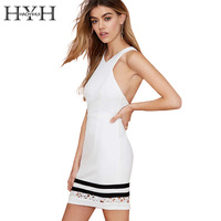 HYH HAOYIHUI Hollow Out Lace Patchwork Halter Dress Brief V Neck Sleeveless Vestidos De Fiesta Bodycon