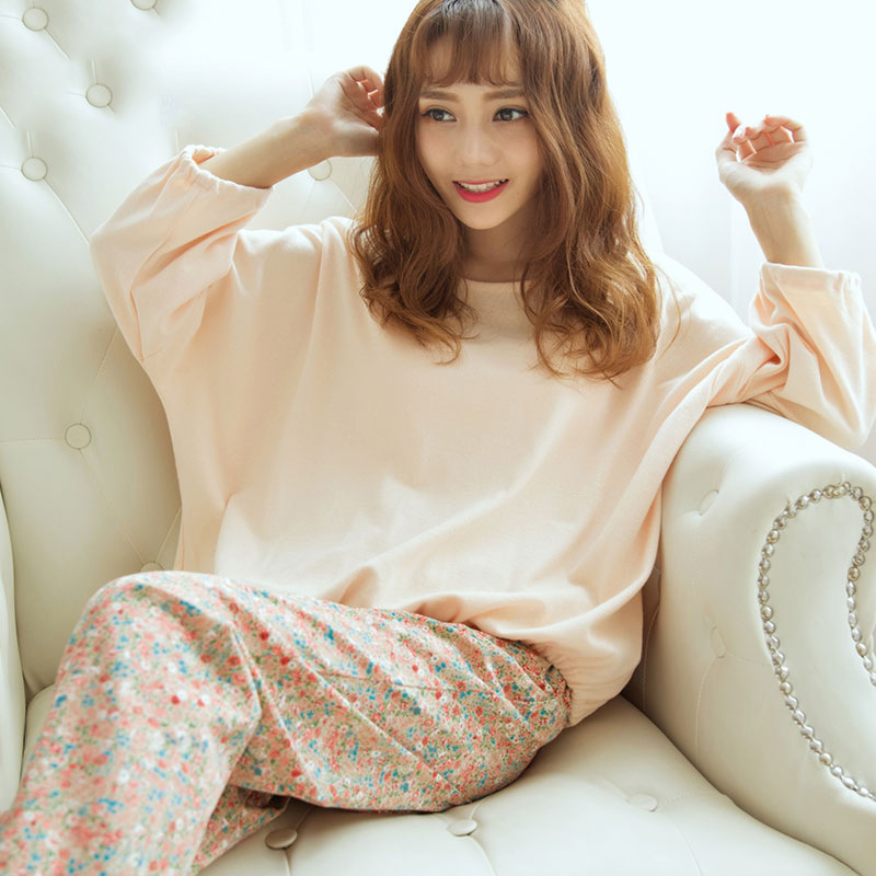Korean floral printed women   pajama     set   plus size round neck two piece women   pajamas   casual long sleeve sleepwear women clothing