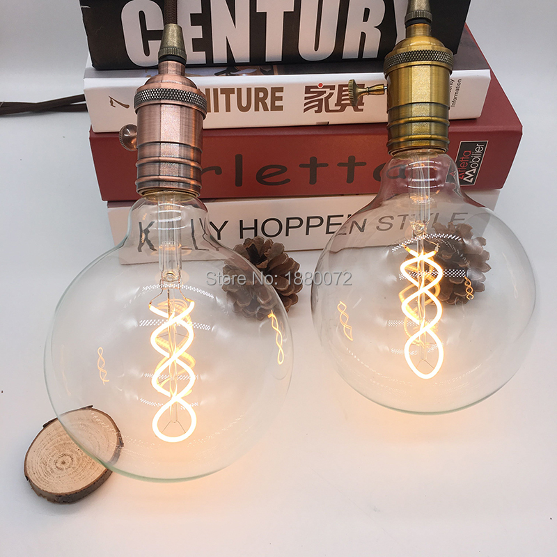 Dimmable Soft Flexible LED Filament Lamps G125 E27 Clear Soft LED Filament Bulb 4W