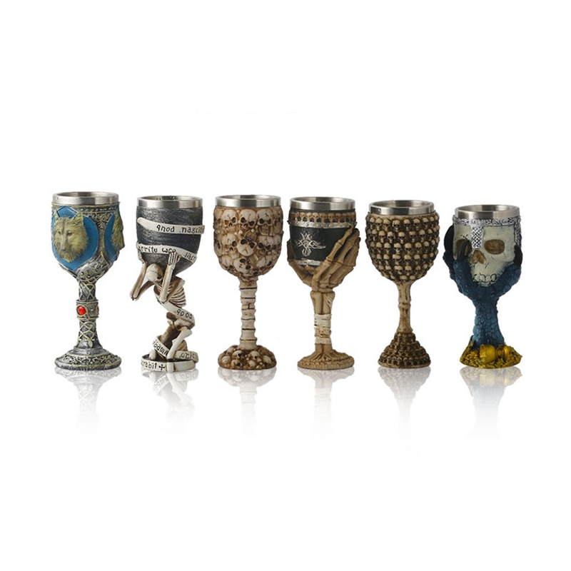 Image 5 - Horrible Resin Stainless Steel Skull Goblet Retro Claw Wine Glass Gothic Cocktail Glasses Wolf Whiskey Cup Party Bar Drinkware-in Other Glass from Home & Garden
