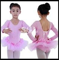 5 Pieces Lot Pink Ballet Tutu Dress Dance Girls Dancing Training Clothes Long Sleeve Leotard