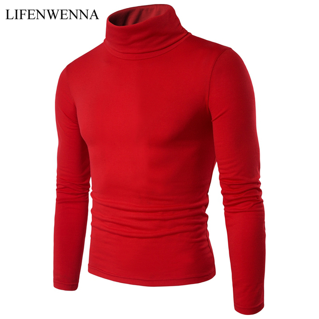 a8b92105fa57 Men's Turtleneck Solid Color Casual Long Sleeve T Shirt 2019 New Autumn Winter  Mens T Shirt Korean Male Slim Fit Pullovers M-XXL