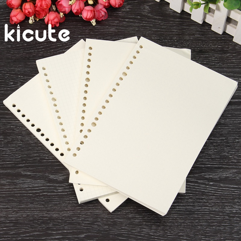 Kicute A5 Inner Paper Page For Binder Paper Insert Matching Filofax Diary Refills Spiral Notebook Replace Color Core Loose Leaf standard b5 spiral notebook inside 60 pcs quality kraft paper page 9 hole on paper loose leaf page for genuine leather notebook