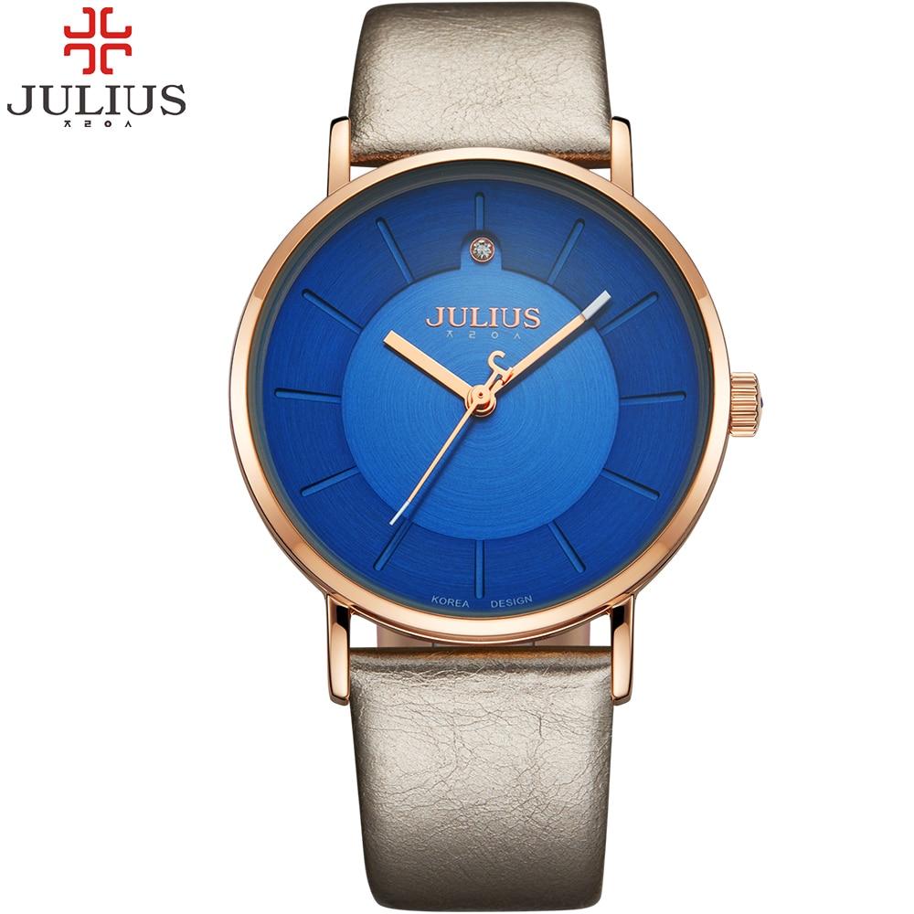 JULIUS Simple Women Watches Leather Strap Vintage Quartz Ladies Watch Fashion Casual Female Student Wristwatch Relogio Montre