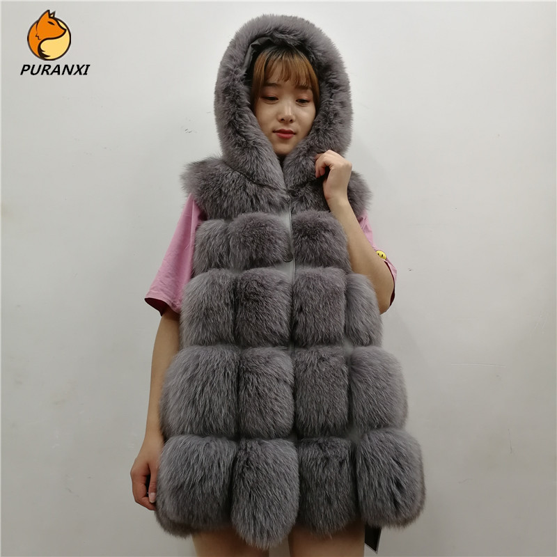 New Fashion Women's Natural Real Fox Fur Vest Waistcoat Gilet With Hood Jacket Coats Long Genuine Autumn Winter High Quality