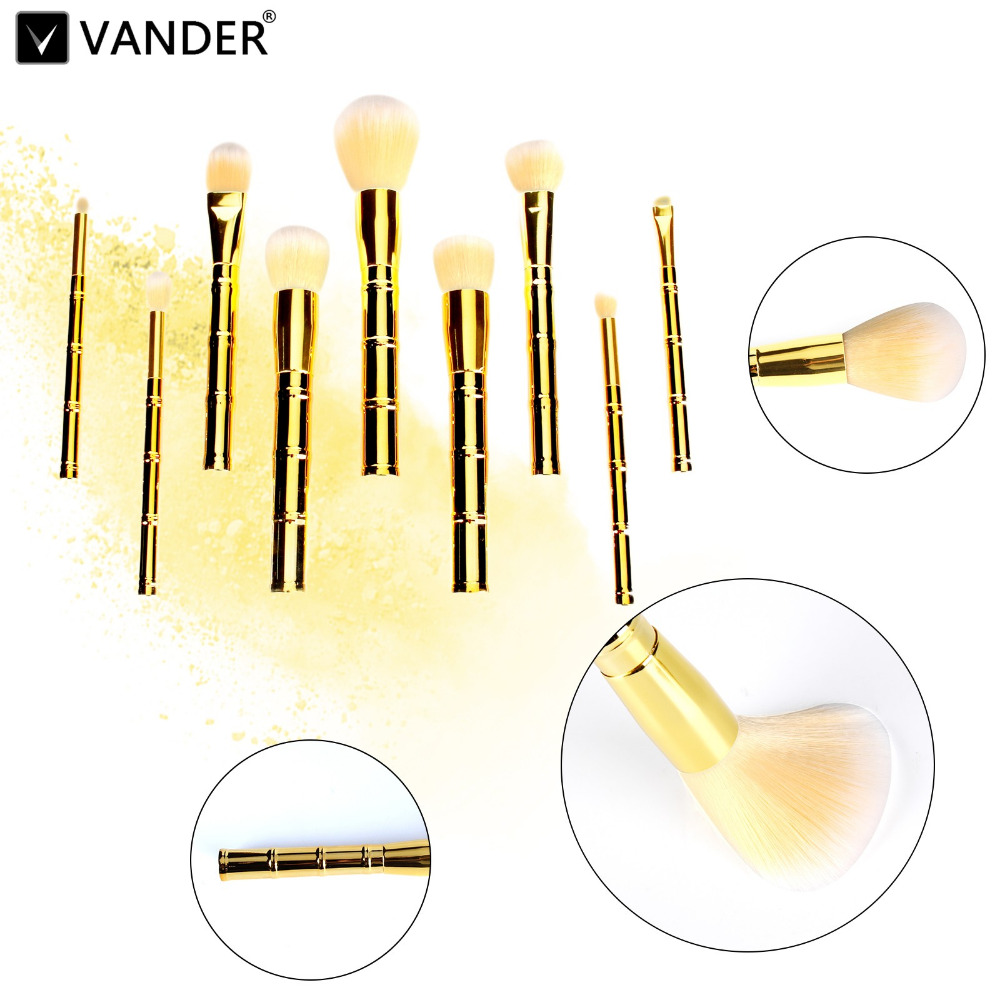 Vander Gold 9pcs/SET Bamboo-Shaped Makeup Brushes Set Multifunction Foundation Powder Face Eye Blush Blending Cosmetic Tool Kits