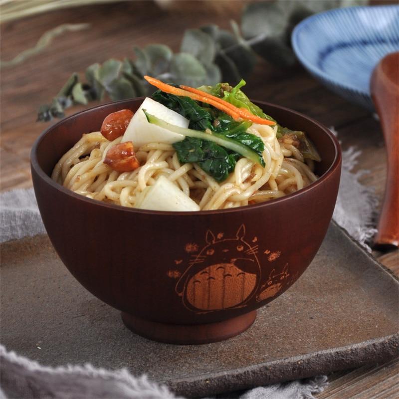 1PC Japanese Style Wooden Bowl Cartoon Totoro Bowl Soup Salad Rice Noodle Bowls Natural Jujube Kids Original Wood Bowl Tableware