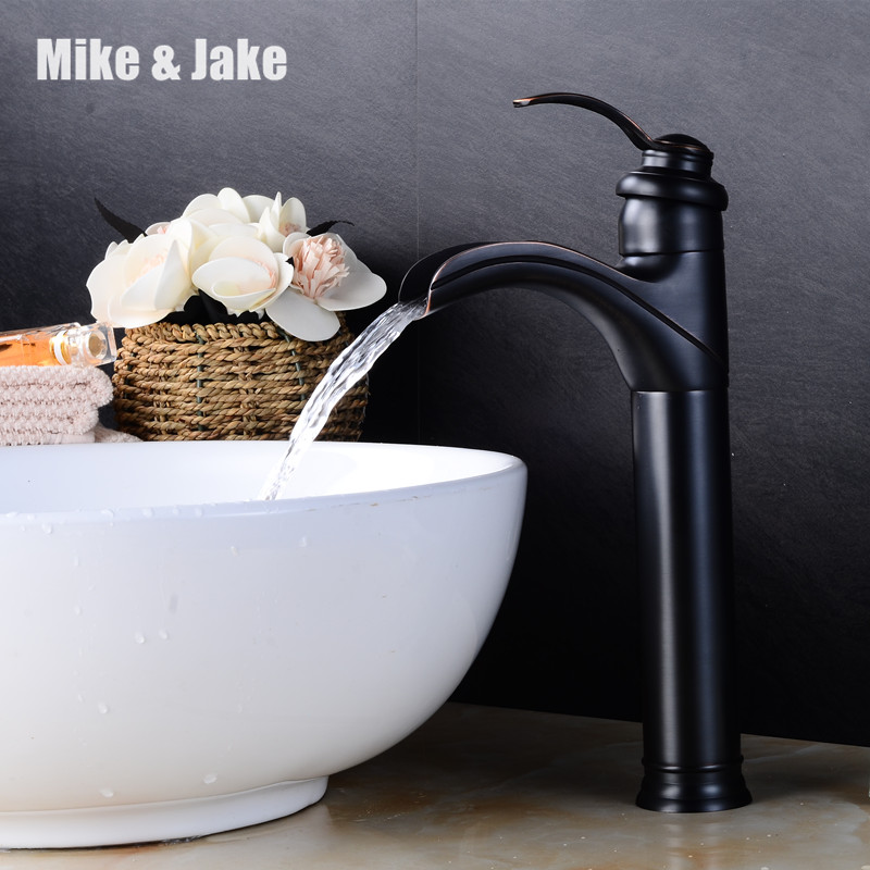 waterfall Black ORB faucet bathroom single handle Antique black color sink tap cold and hot mixer tap basin mixer waterfall mixe newest washbasin design single hole one handle bathroom basin faucet mixer tap hot and cold water orb chrome brusehd
