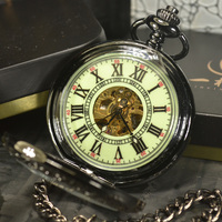 Automatic Skeleton Mechanical Pocket Watch Men Steampunk Luxury Fashion Antique Chain Necklace Casual Pocket Fob Watches