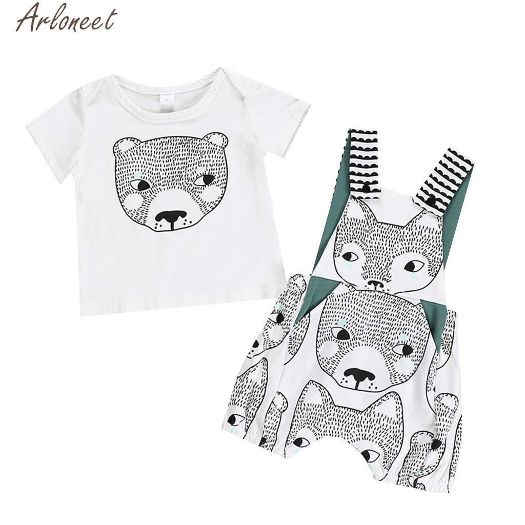 ARLONEET детские для маленьких мальчиков с героями мультфильмов для девочек Футболка с принтом топы + комбинезон на лямках с изображением медведя комбинезон 19Apr4 P35 Детские комплекты