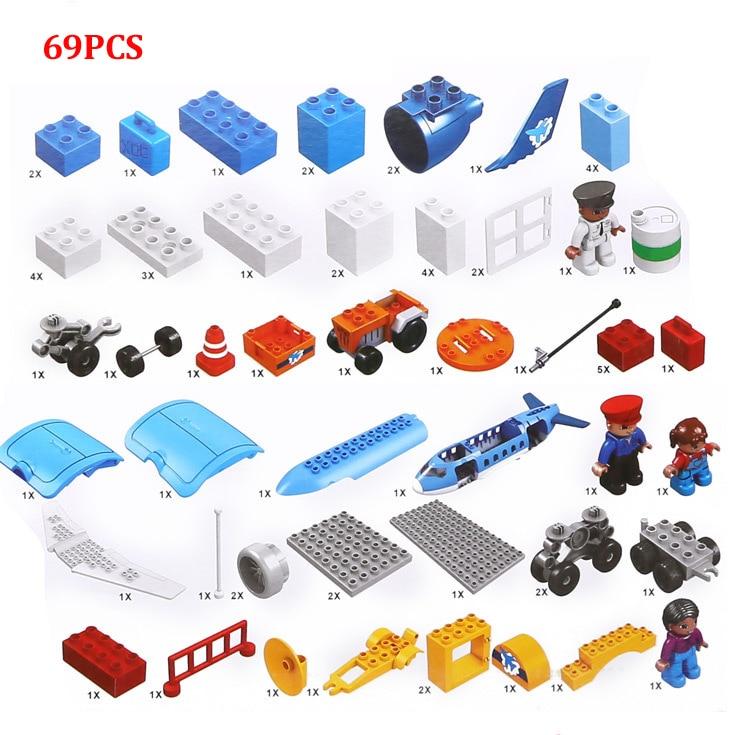 69 stks Kinderen bouwstenen Plastic model kits luchthaven Aerospace gemonteerd model kinderen speelgoed - 2