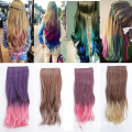 55cm Long Curly Clip in Hair Extensions New Fashion Double Colors Gradient Cosplay Synthetic Hair Extension Heat Resistant Hair