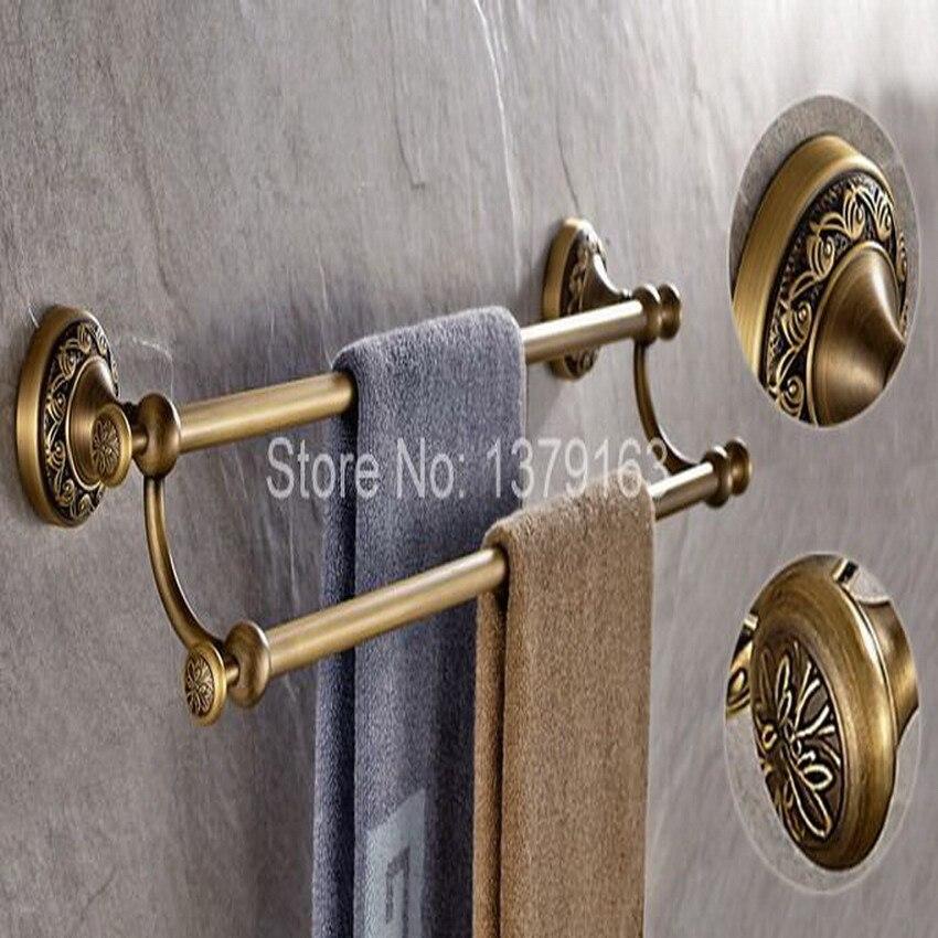 Antique Brass Bathroom Accessory Wall Mounted Double Towel Bar Towel Rail Rack Holder Bathroom