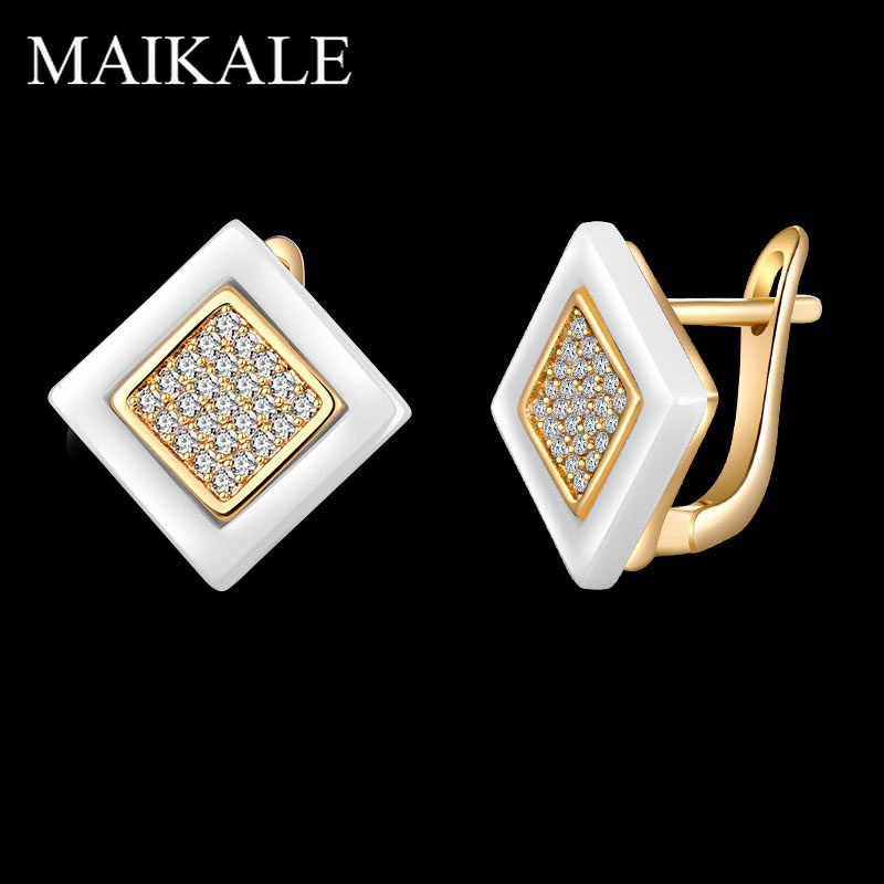 MAIKALE Classic Squar Ceramic Stud Earrings Copper Plated Gold Silver AAA Cubic Zirconia High Quality Earrings For Women To Gift
