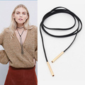2016 New Black Suede Leather Cord Necklace Fashion Long Bow Choker Statement Necklaces for Women Collier Bijoux Wholesale