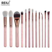 2017 BEILI New Style 12pcs Complete Makeup Brush Set Professional Foundation Blusher Highlighter Eye Shadow Eyeliner