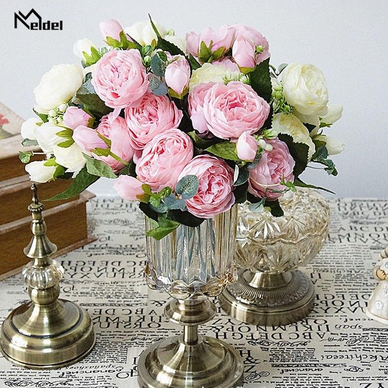 artificial flower silk peonies bouquet wedding home decoration (3)
