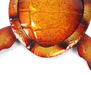 Image 5 - Liffy подарок металлическая черепаха настенное украшение для сада уличные статуи и миниатюрные садовые животные для двора