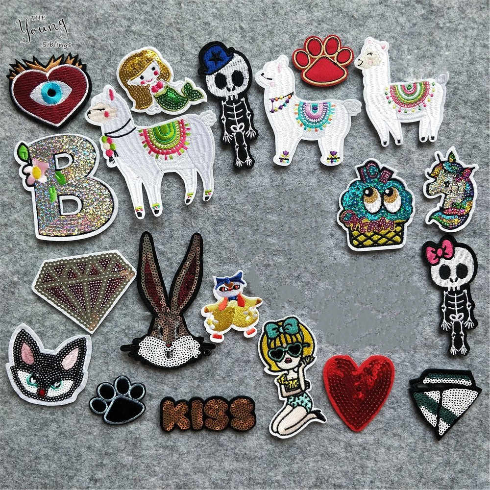 Sewing Clothes Patches Hot sale Sheep Mermaid Iron On Embroidery Patches Unicorn Hot melt adhesive Badges DIY Clothes Stickers