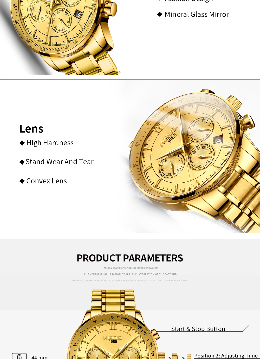NIBOSI Gold Watch Mens Watches Top Brand Luxury Sport Men's Quartz Clock Waterproof Military Wrist Watch Relogio Masculino Saat 12