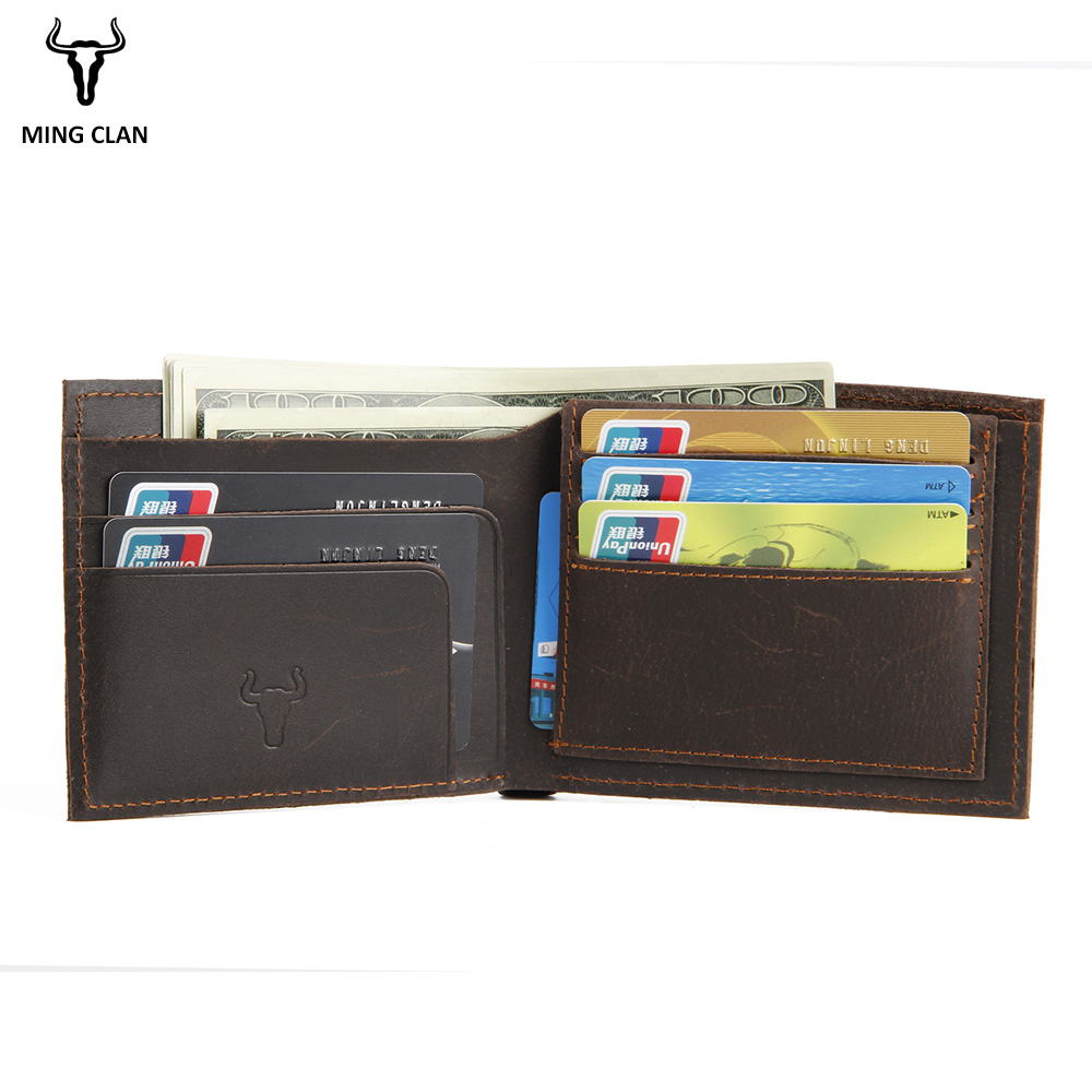 Mingclan RFID Blocking Men Wallets Vintage Cow Genuine Leather Wallet Male Card Holder Dollar Price Coin Purse Short Wallet Men rfid theft protect dollar price men wallets famous brand with coin pocket purse card holder zipper genuine cow leather wallets