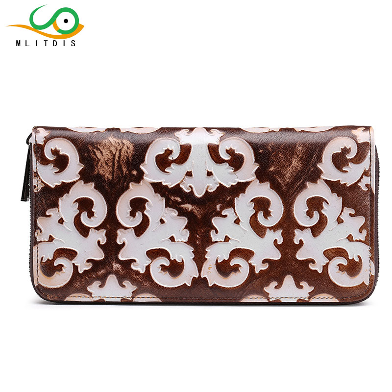 MLITDIS Retro Womens Wallets And Purses Long Genuine Leather Wallet For Ladies Wallet With Money Clip Female Big Purse Women stock promotion genuine leather wallet female purse long coin purses holder ladies wallet hasp fashion womens wallets and purses