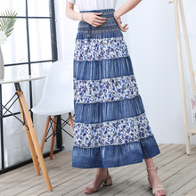 Woman Vintage Long Denim Skirt 2019 Korean Style Woman High Waist Lace Up Floral Print A Line Skirt Bohemian Boho Maxi Skirt все цены