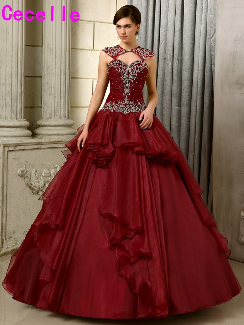 2017 new ball gown burgundy wedding dresses non white for Maroon dresses for wedding